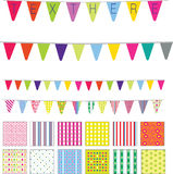 Pendants or street style retro flags. Patterns and banners in a retro cute style, spots, stripes and flowers motifs Royalty Free Stock Images
