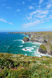 Pendarves Island at Bedruthan Steps Stock Photo