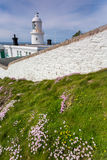 Pendeen lighthouse in cornwall england uk. Pendeen lighthouse stunning scenery in this famous artisitic location in cornwall england uk Royalty Free Stock Images