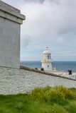 Pendeen lighthouse in cornwall england uk. Pendeen lighthouse stunning scenery in this famous artisitic location in cornwall england uk Stock Image