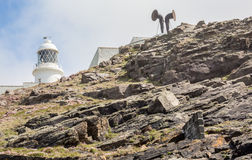 Pendeen lighthouse in cornwall england uk. Pendeen lighthouse stunning scenery in this famous artisitic location in cornwall england uk Stock Photos