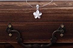 Pendente d'argento del fiore delle coppie Fotografia Stock