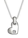 Pendente da platina ou da prata na forma do coração Imagens de Stock Royalty Free