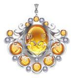 Pendente de prata com gemas ambarinas Foto de Stock