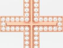 pendente decorativo dell'incrocio del diamante dell'oro rosa dell'illustrazione 3D Immagine Stock