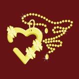 pendente del cuore su una catena Fotografie Stock