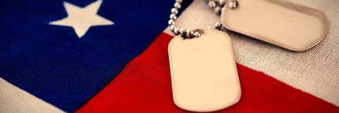Pendente della medaglietta per cani sulla bandiera americana Immagini Stock Libere da Diritti