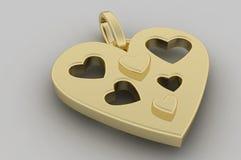 Pendente do coração do ouro Imagens de Stock