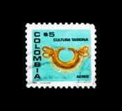 Pendente do nariz do ouro, serie da cultura de Tairona, cerca de 1980 Foto de Stock