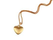 Pendente dorato del cuore Fotografia Stock Libera da Diritti