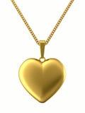 Pendente dorato nella figura di cuore sulla catena Fotografia Stock Libera da Diritti