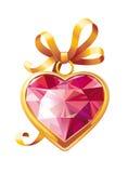 Pendente a forma di del cuore dell'oro dei biglietti di S. Valentino Fotografia Stock Libera da Diritti