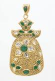 Pendente verde smeraldo con i diamanti Immagine Stock