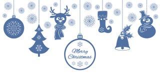 Pendenti blu di Natale: una campana con agrifoglio, palla, abete, fiocchi di neve, un cervo in sciarpa, pupazzo di neve in un cap Immagini Stock Libere da Diritti