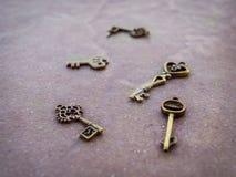 Pendenti d'annata di chiave dorata Fotografia Stock