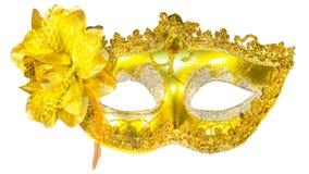 Pendenti dell'oro della maschera di travestimento isolati Fotografia Stock Libera da Diritti