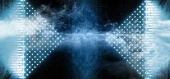 Pendenza blu al neon del laser Dots Triangle Shaped Glowing Ice di ballo di Sci Fi della retro fase straniera moderna cyber futur illustrazione di stock
