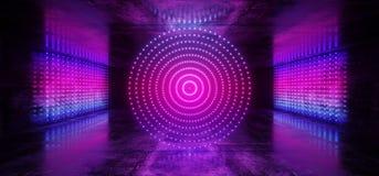 Pendenza blu rosa al neon del laser Dots Circle Shaped Glowing Purple di ballo di Sci Fi della retro fase straniera moderna cyber royalty illustrazione gratis
