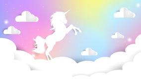 Pendenza del cielo dell'unicorno illustrazione di stock