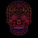 Pendenza di colore del cranio su fondo nero, simbolo del giorno dell'immagine morta immagini stock