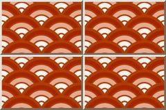 Pendenza rotonda di rosso della scala dell'incrocio della curva del modello della piastrella di ceramica royalty illustrazione gratis