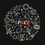 Pendenza variopinta dello spazio con la linea icone messe Fotografia Stock
