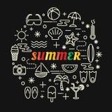 Pendenza variopinta di estate con la linea icone messe Fotografia Stock Libera da Diritti