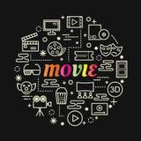 Pendenza variopinta di film con la linea icone messe Fotografie Stock Libere da Diritti