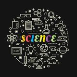 Pendenza variopinta di scienza con la linea icone messe Immagine Stock Libera da Diritti