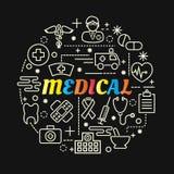 Pendenza variopinta medica con la linea icone messe Immagini Stock