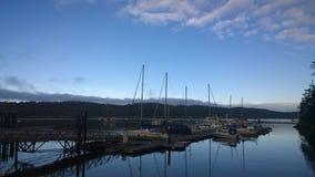 Pender海岛小游艇船坞 免版税库存照片