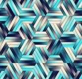 Pendiente inconsútil Mesh Color Stripes Hexagon Grid del vector en sombras de azules marinos Imagen de archivo