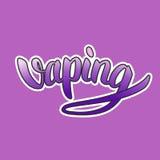Pendiente púrpura de las letras a mano de Vaping con el esquema blanco en el fondo violeta Fotos de archivo libres de regalías