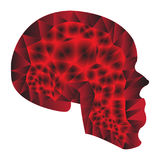 Pendiente roja estilizada del cráneo ilustración del vector
