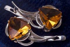 Pendientes con el citrine Imagen de archivo libre de regalías