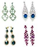 Pendientes con joyería brillante de los cristales Imagen de archivo libre de regalías