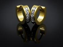 Pendientes con los cristales - acero inoxidable Foto de archivo libre de regalías