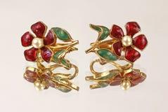 Pendientes de la flor de la imagen de espejo Imagen de archivo libre de regalías