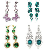 Pendientes de la joyería con los cristales brillantes Imágenes de archivo libres de regalías