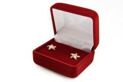 Pendientes del oro en un rectángulo de joyería Foto de archivo libre de regalías