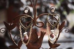 Pendientes femeninos románticos hermosos Fotos de archivo