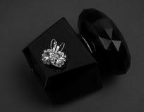 Pendientes y perfume del diamante Fotografía de archivo libre de regalías