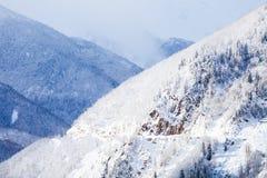 Pendii boscosi delle montagne di Caucaso in sole della nuvola Immagine Stock