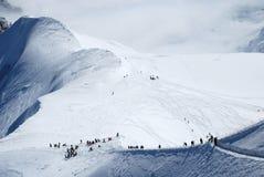 Pendii del pattino a Mont Blanc Immagine Stock Libera da Diritti