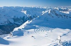 Pendii della stazione sciistica, Kaprun, alpi austriache Immagini Stock