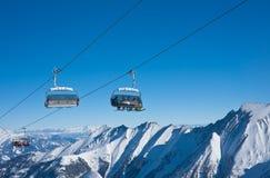 Pendii della stazione sciistica, Kaprun, alpi austriache Fotografia Stock