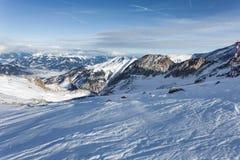 Pendii dello sci nella località di soggiorno di Kaprun Fotografia Stock