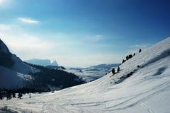 Pendii di corsa con gli sci di inverno Fotografia Stock Libera da Diritti