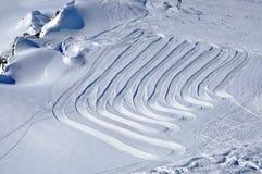Pendii nella stazione sciistica di Kitzsteinhorn, alpi austriache Fotografia Stock