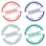Pending badge isolated on white background. Flat style round label with text. Circular emblem vector illustration Stock Images